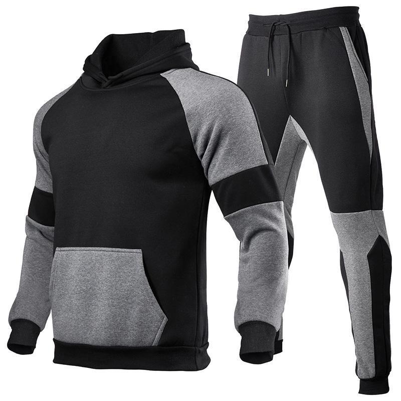 Erkek Eşofmanları 2 Parça Setleri Eşofman Sportwear Erkekler Kapşonlu Kazak + Pantolon Kazak Hombre Rahat Giyim Marka Giyim Özel Logo