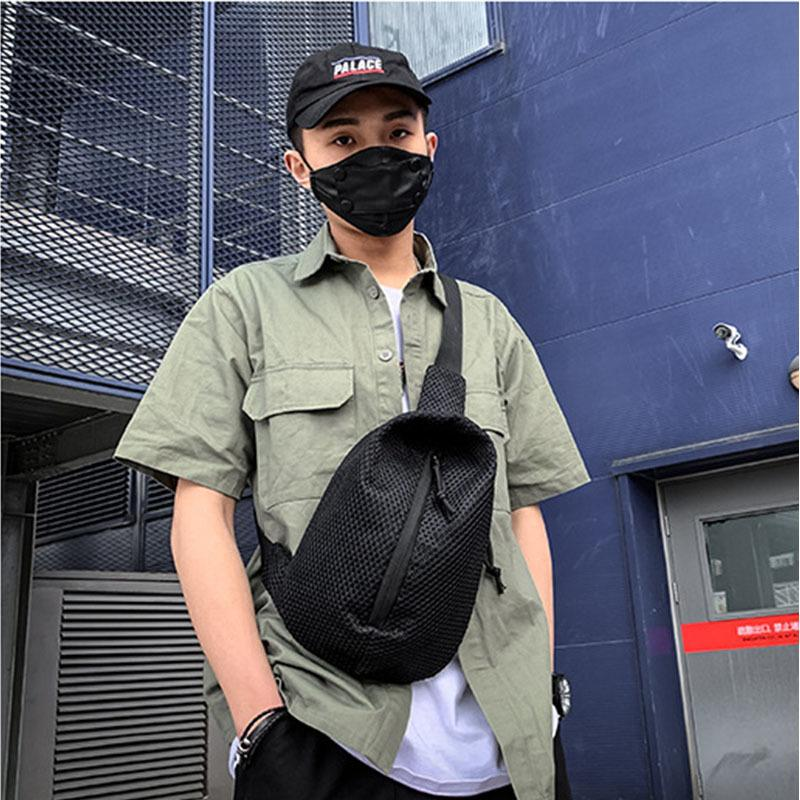 Fashion Net Cloth man Chest Bag Neutral Outdoor Zipper Messenger Bag Cycling youth crossbody Pack Sport shoulder bags C177 C0305