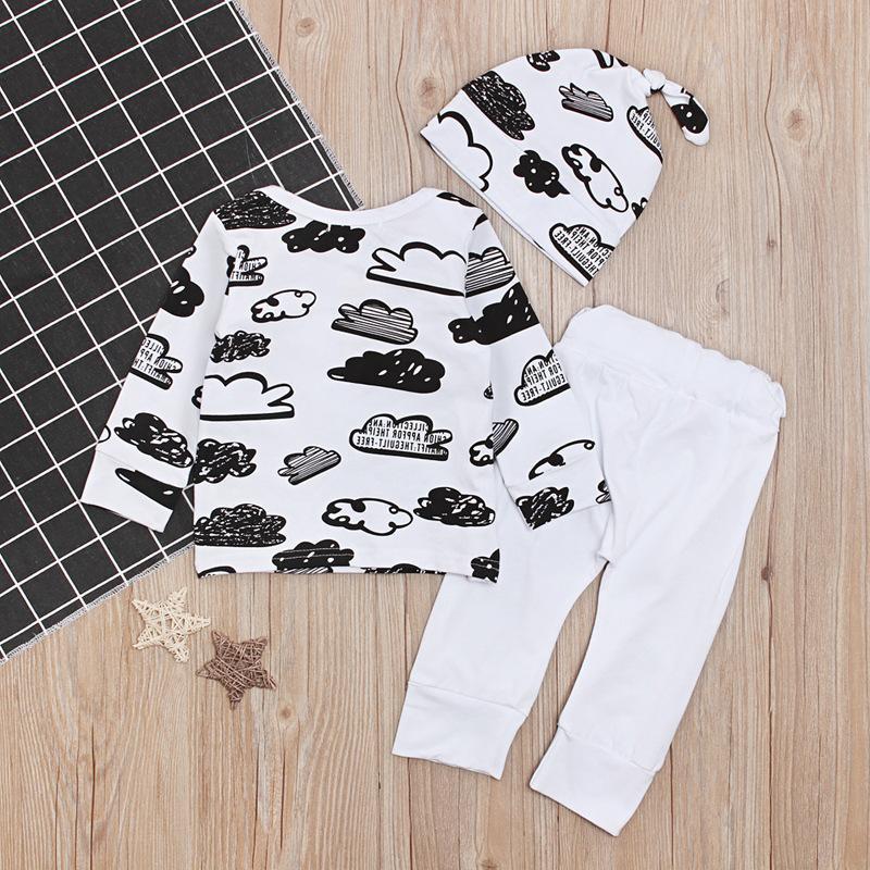 2018 Outono Roupas Recém-nascidas Conjuntos Bebê Meninos Meninas Cloud T Camisas Tops + Calças Brancas + Cap 3 Pcs Outfits Infantil Moda Roupas Sui 332 U2