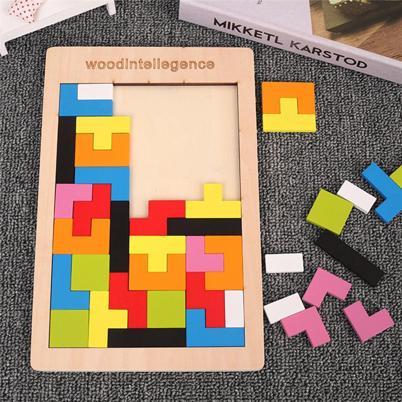 Puzzle 3D colorido Tangram de madeira Tangram Tetris Jogo Crianças Magnação Pré-escolar Brinquedo Educacional Intelectual para Crianças