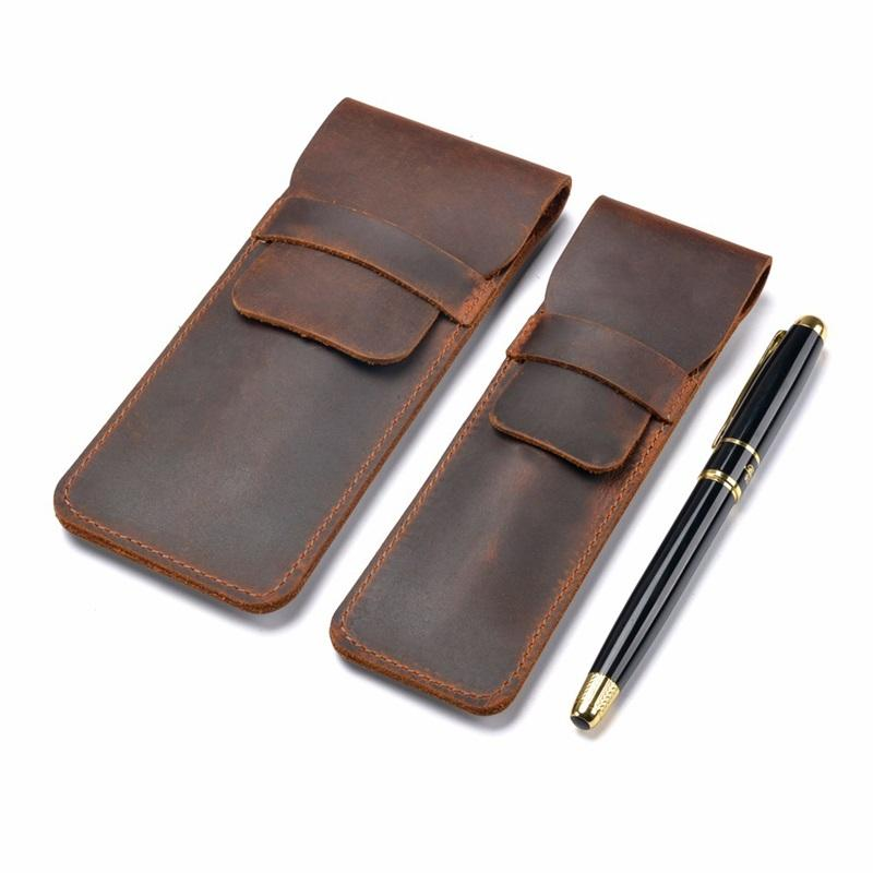 Handmade Genuine Leather Pencil Bag Cowhide Fountain Pen Case Holder,Retro Pens Pouch Protective Sleeve Cover 907 B3