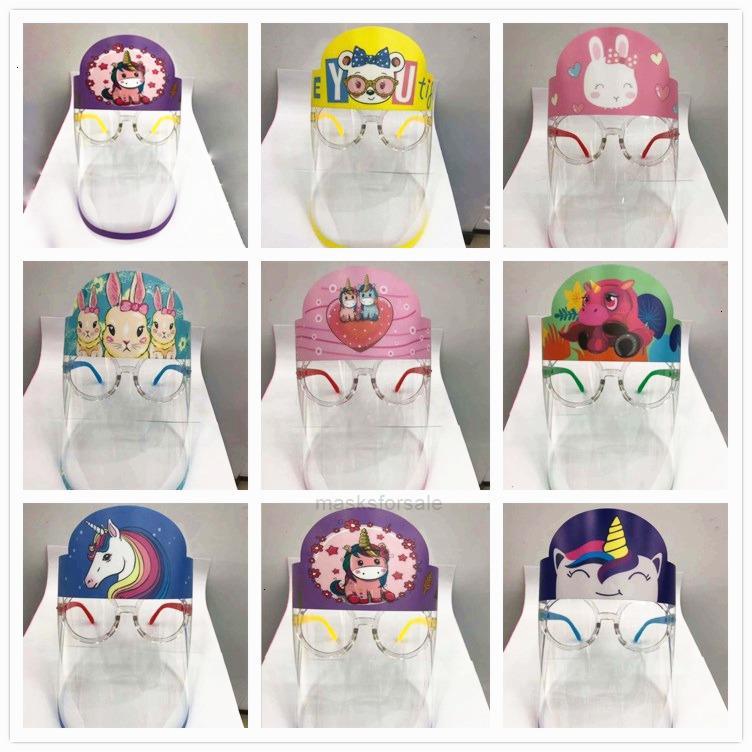 SHIELD NIÑOS Dibujos animados Diseñador de dibujos animados con máscaras de gafas PET anti-niebla previene Aislamiento de cara completa Máscara protectora P XHS302