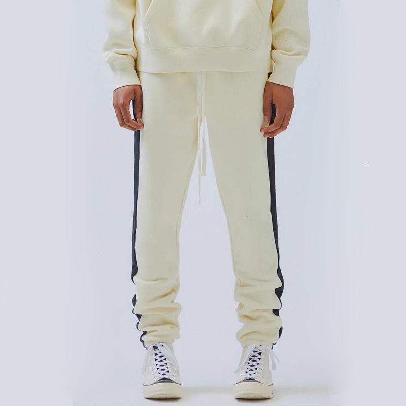 Pantolon 2021 Korku 19ss Tanrı Sis Essentials Sweatpants Vintage Renk Eşleştirme Splice Pantolon Moda Erkek Kadın Spor Pantolon Açık