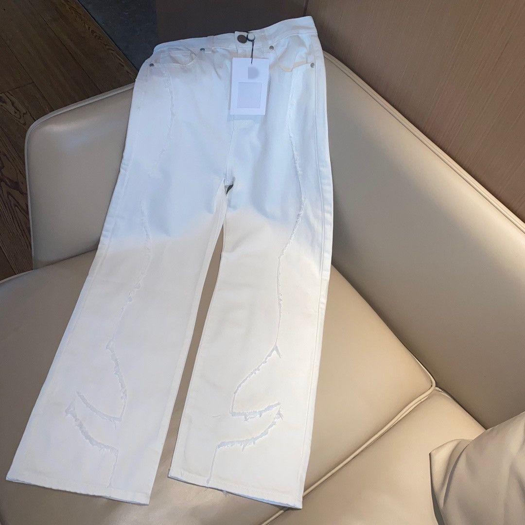 Milan Pist Jeans 2021 Sonbahar Beyaz / Mavi Moda Nakış Tasarımcısı Düz Marka Aynı Stil Lüks Bayan Giyim 0703-2