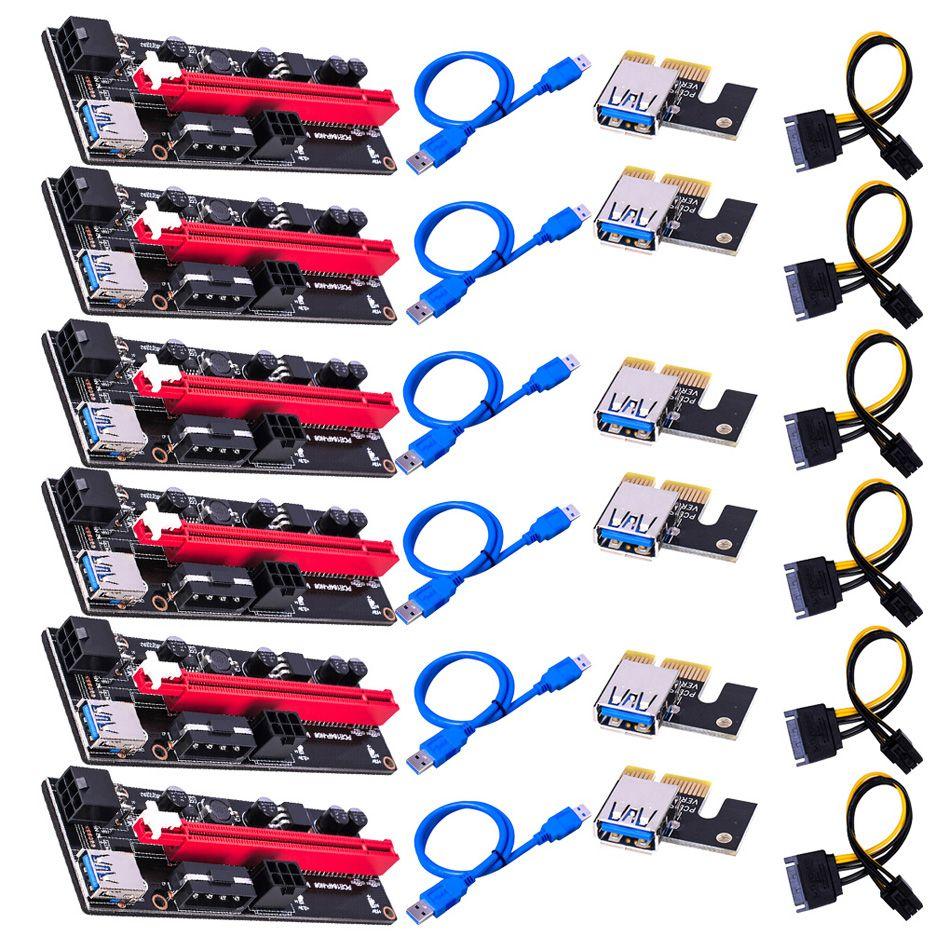 VER009 USB3.0 PCI-E Riser VER 009S Express 1X 4x 8x 16x Extender Riser Adapter Card SATA 15pin to 6 pin Power Cable