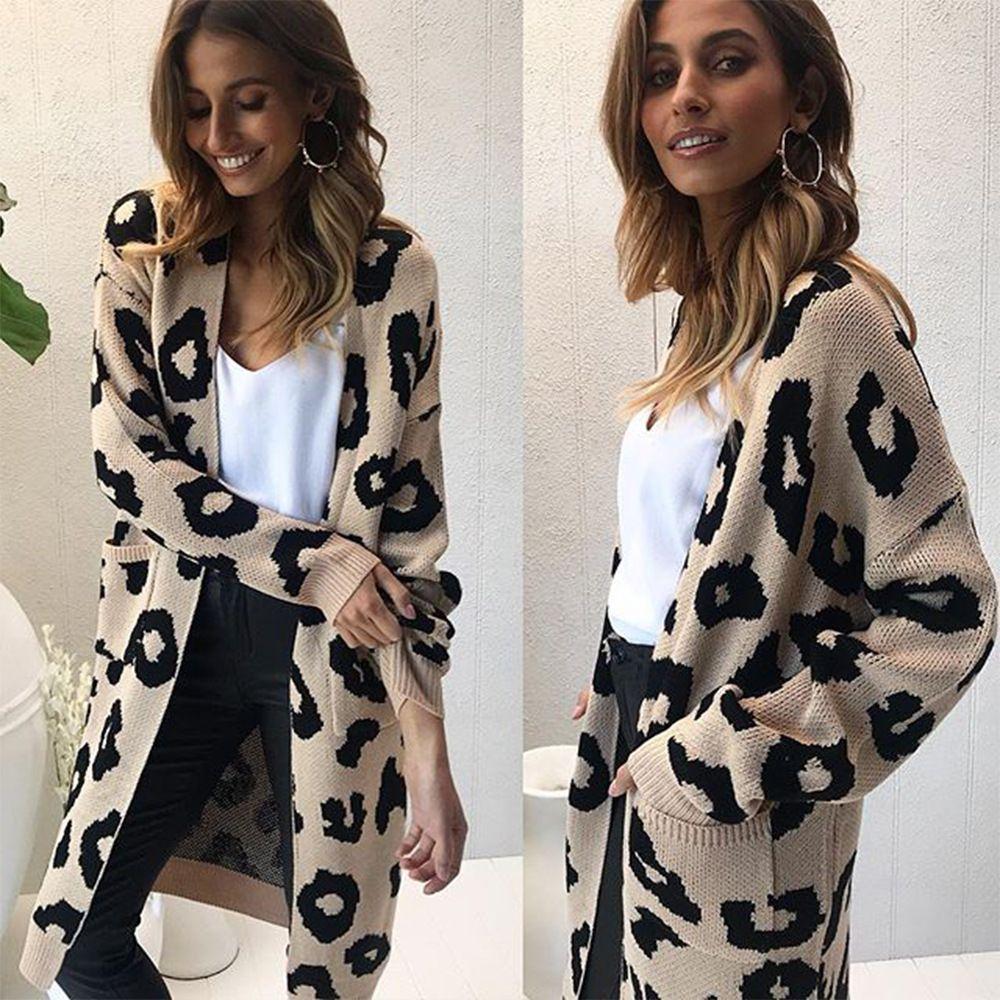 Frauen Leopard Gestrickt Lange Strickjacken Langarm Winter Pullover Mantel Mantel Für Frauen Weibliche Frauen Pullover Mäntel Dame