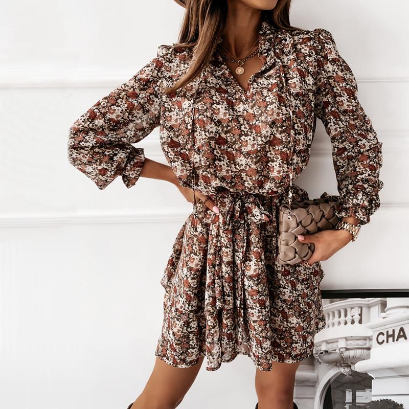 2021 Новые женщины Boho Beach Floral Print с длинным рукавом V шеи r ruchles мини-элегантные дамы Es Party Club Classic Classic Vestidos 30PY
