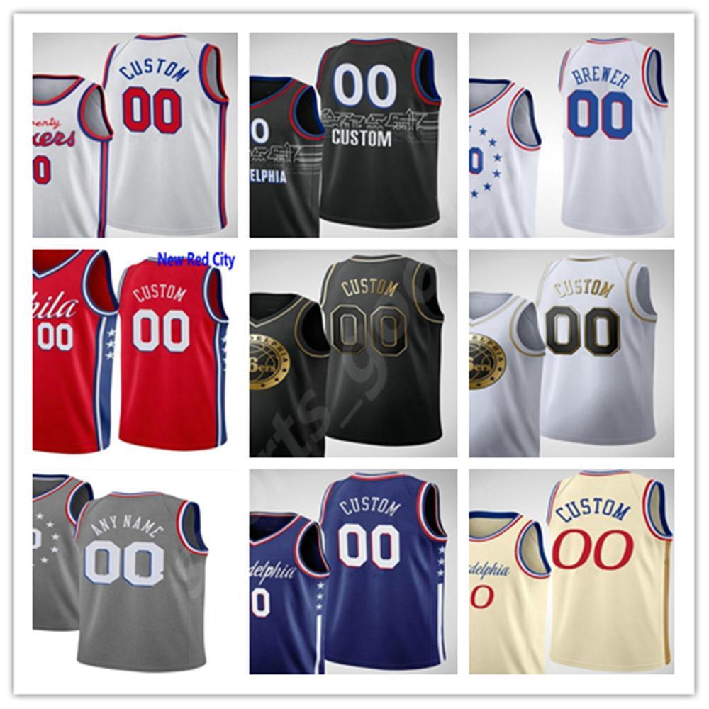 Пользовательские мужчины 2021 напечатаны Joel 21 Embiid Ben 25 Simmons Tobias 12 Harris Dwight 39 Howard Seth 30 Curry Men Woman Kids Basketball майки