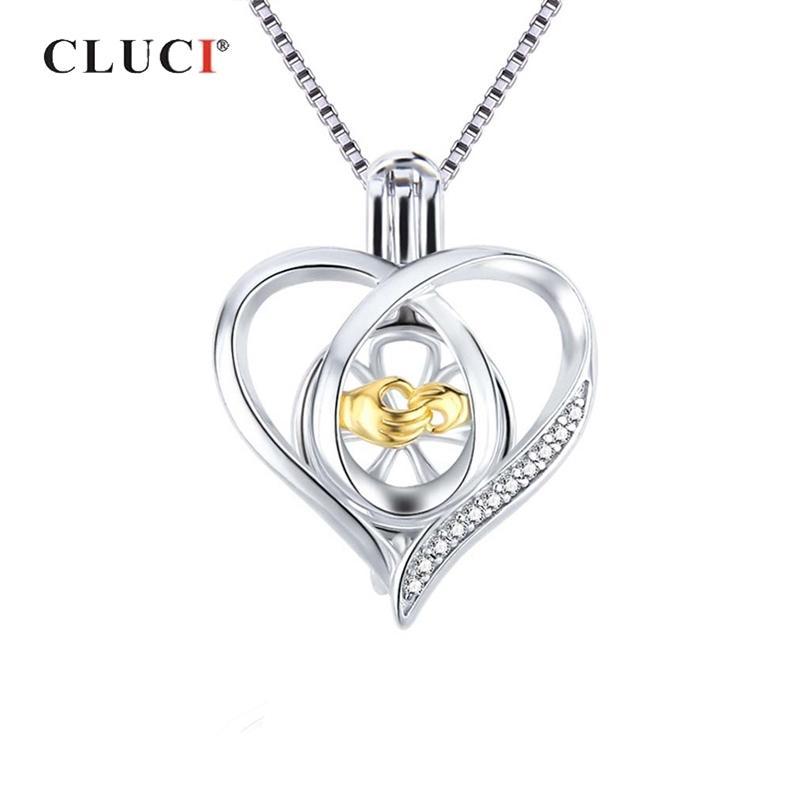 Medaglione Clucu 925 per le donne collana gioielli rendendo 925 sterling argento cuore zircone perla gabbia pendente SC362sb