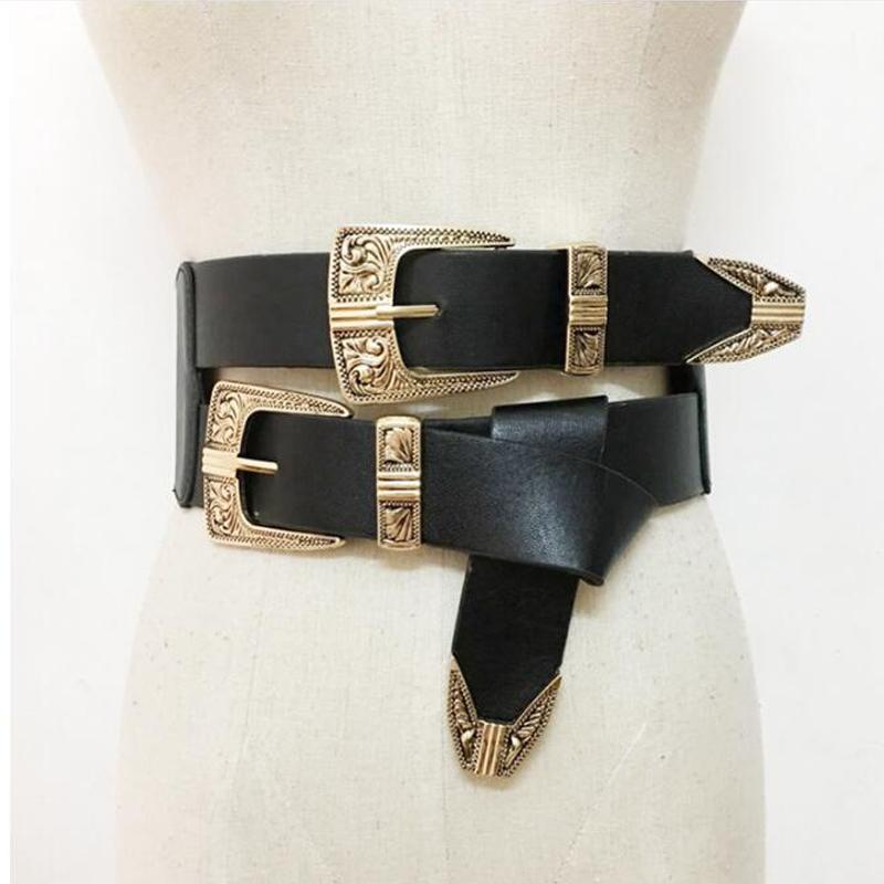 Женский винтажный металлический штырь пряжки ремни крутые повседневные платья аксессуары двойной пряжкой дизайнер кожаный ремень ремешок для женщин