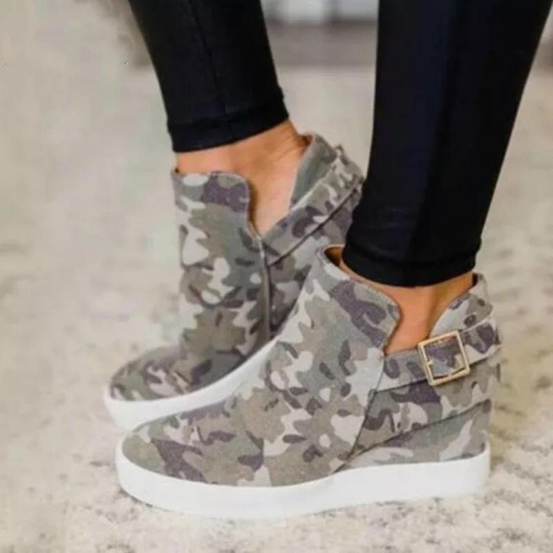 2021 Yeni Sonbahar Kadın Tuval Sneakers Bayanlar Toka Rahat Çiş Platformu Ayakkabı Kadın Kamuflaj Vulkanize Bayan 4C2Z