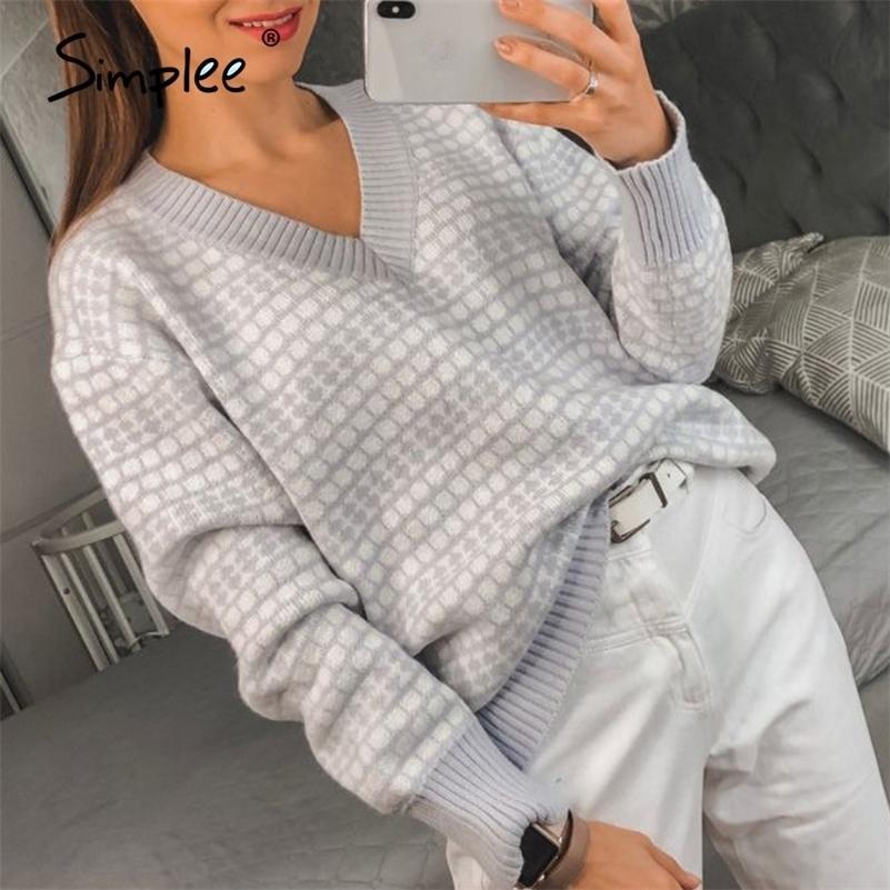 Simplee Fashion Geometric Thick Sweater V-Neck Donne Autunno Inverno Pullover Pullover Del Tempo libero Ufficio Lady Fashion Maglia Maglione LJ201017