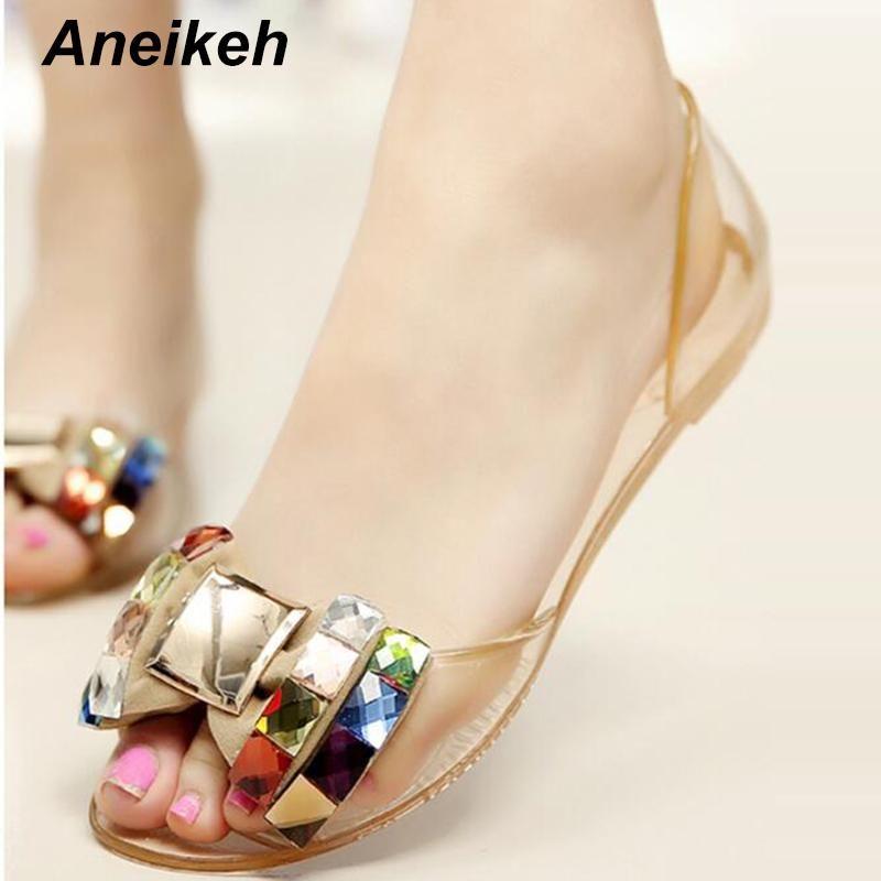 Aneikeh Women Sandals Summer Bling Bowtie Fashion Peep Toe Jelly Shoes Sandal Flat Shoes Woman Size 35-40 women Jelly