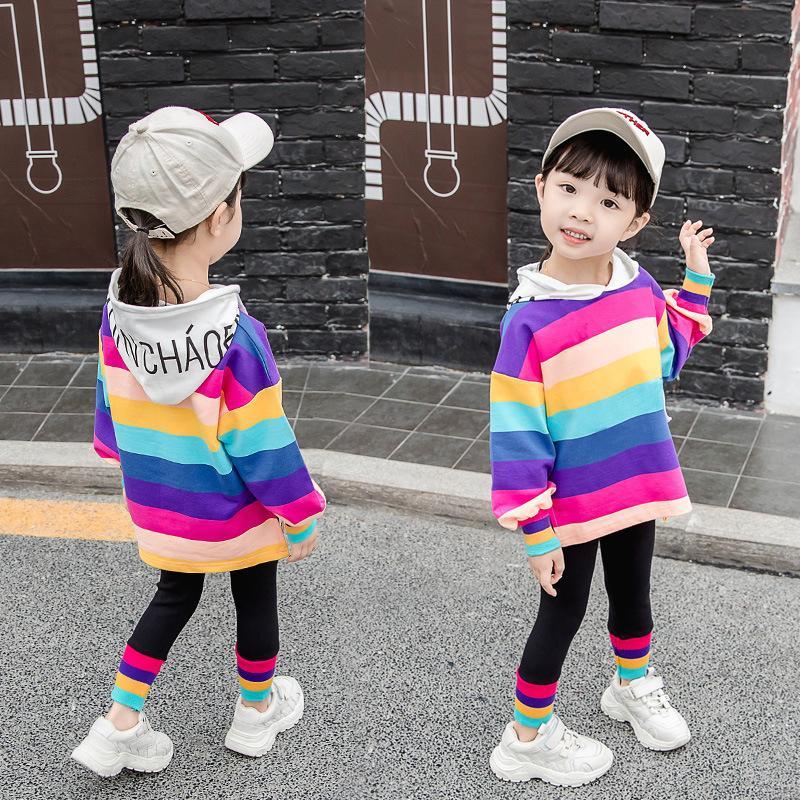 Baby Girl Clothes Designer Toddler Girls Rainbow Outfit Kids Clothing Sets Teen Egirl 2PCS Tshirt+Pants Set Long Sleeve 2021 New C0225