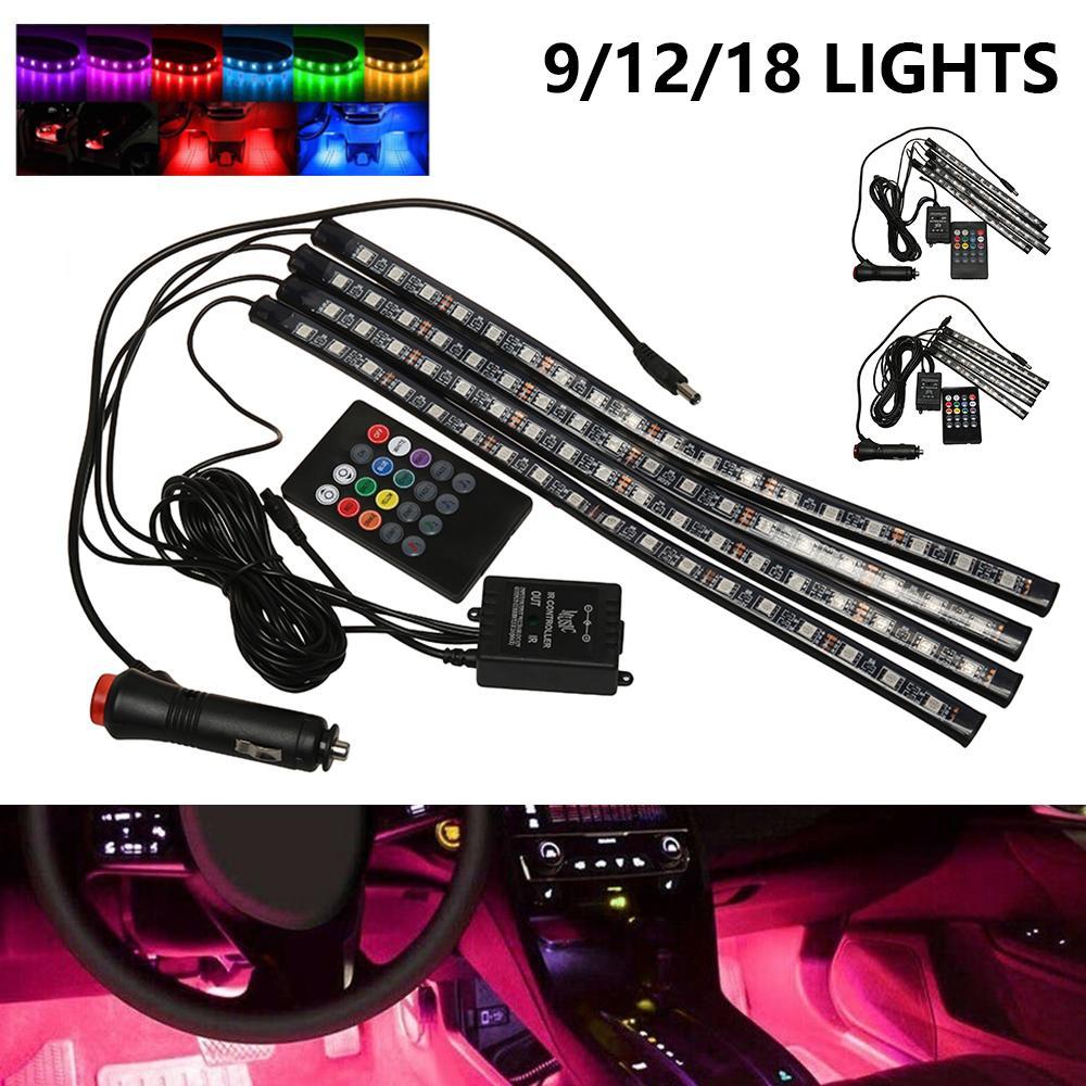 Autoinnenraum-Atmosphäre LED RGB Streifen Licht Dash Boden Fuß RGB LED-Streifen Dekorative Lichtmusik Klangsteuerung Multiple Beleuchtung