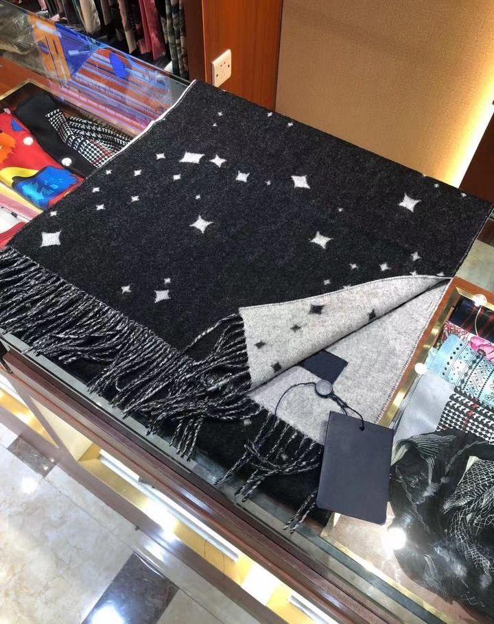 Marka Tasarım Lüks Eşarp Siyah Ve Beyaz Yıldızlı Gökyüzü Tarzı Klasik Logo Ile Uzun 200x40 cm Hediye Kutusu Seti