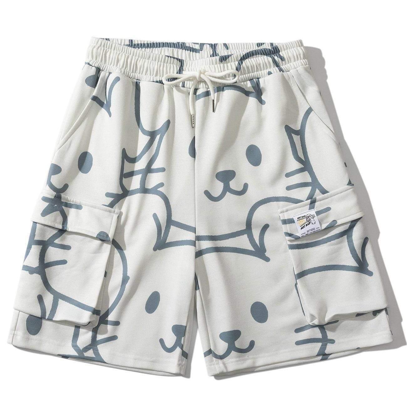 2021 Summer Mouse Pantaloncini pieni di stampa uomo Hip hop streetwear graffiti ricamato pantaloni corti ricamati Harajuku sfumato joggers sweatshorts