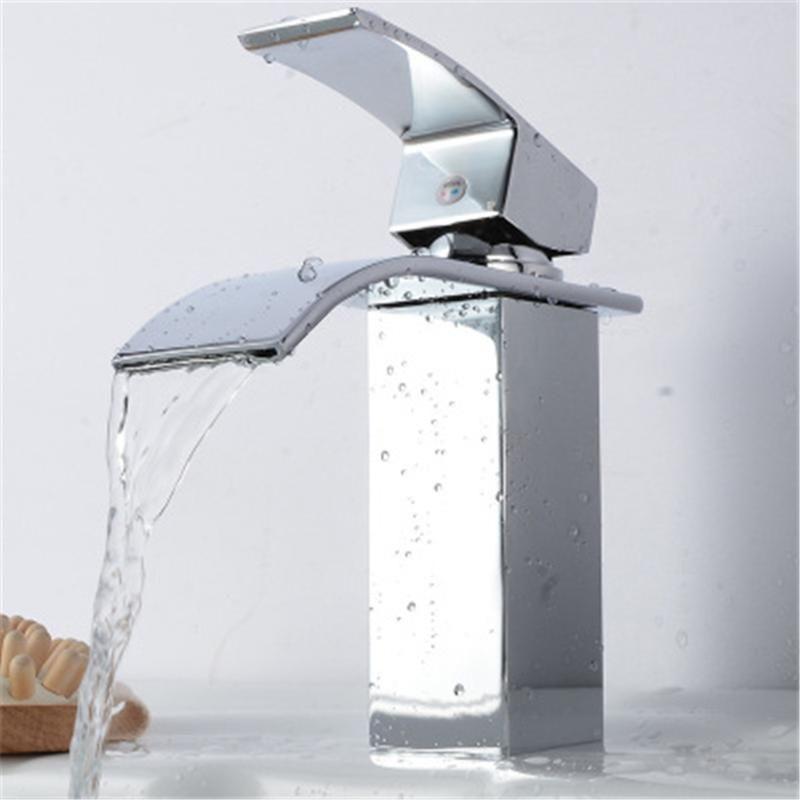 Смесители раковины для ванной комнаты Washbasin Faucet Квадрат Широкий рот понравился водопад, домой кухонный гальванический и холодный смеситель