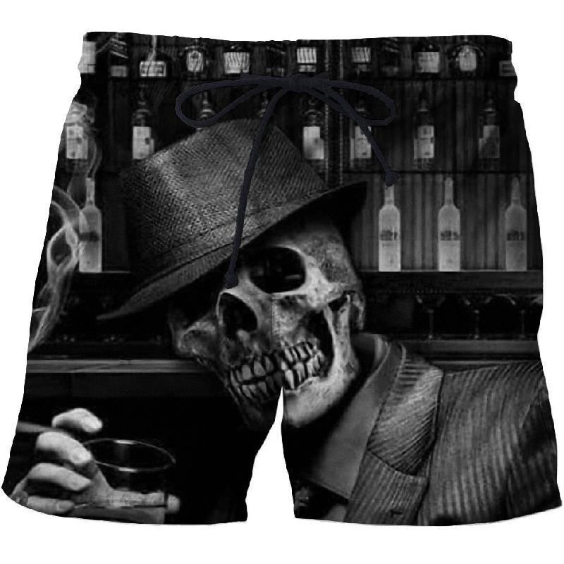 Pantaloncini da uomo Mens Black Skull Board 3D Stampato Summer Beach Masculino 2021 Donne Quick Dry Costume da bagno Short Homme
