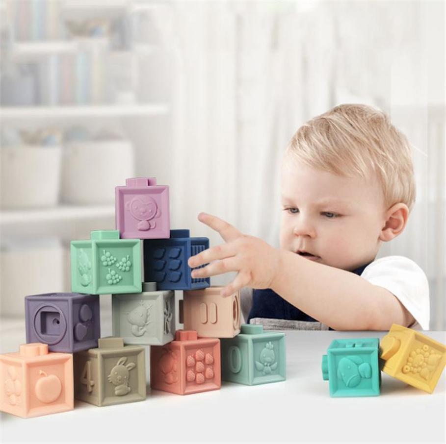 아기 부드러운 장난감 감각 실리콘 교육 빌딩 블록 3D 매달려 공 아기 고무 Teether 스퀴즈 목욕 장난감 유아를위한