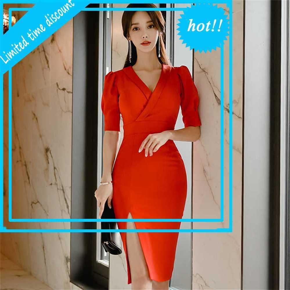 Frühling Neue Korea Weibliche Tuch V-Ausschnitt Hohe Taille Rot Sexy Kleid Bleistift Bodycon Split Knielang Kurzarm Büro Vestidos