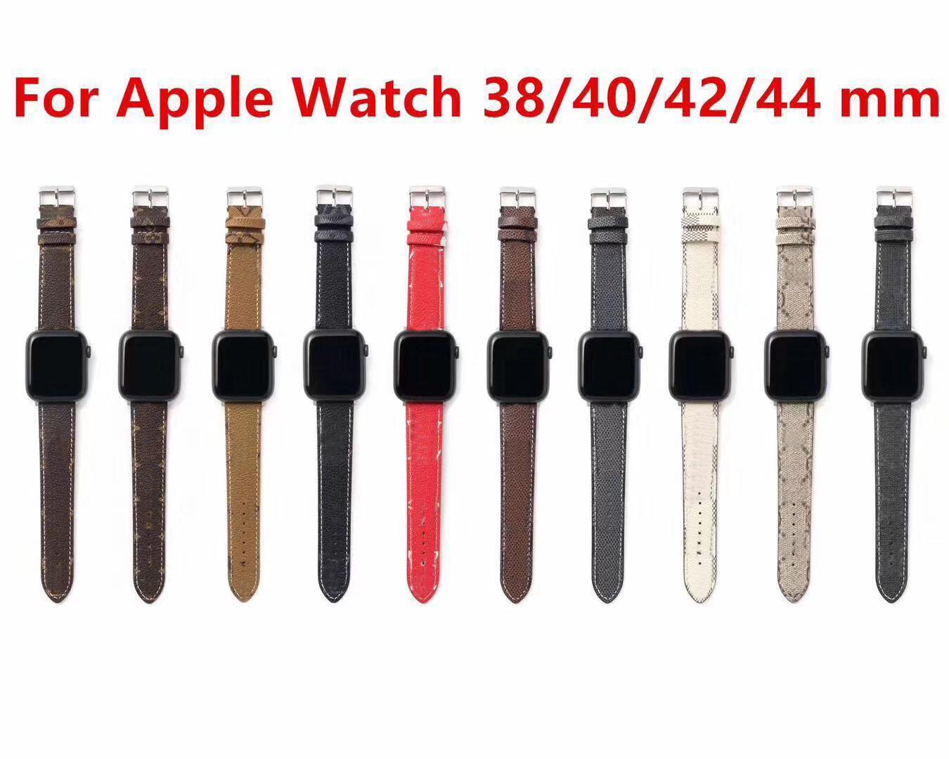مصمم Watchbands الجلود ل أبل ووتش الفرقة 38 ملليمتر 40 ملليمتر 42 ملليمتر 44 ملليمتر ل iwatch العصابات العصرية استبدال حزام سوار الأزياء المشارب