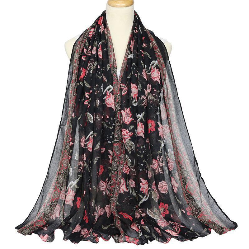 Дизайн Распечатать весенние Женщины Хлопок Шарф Voile Hijab Большой Цветок Мягкая Шаль Wraps Bandana Femme Chexerchief Echarpe Mujer