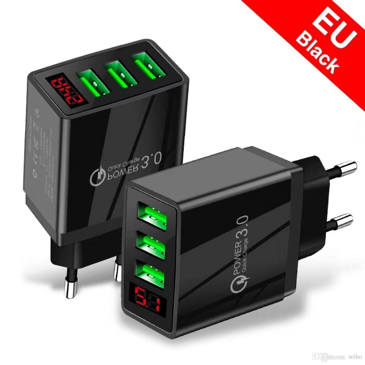 Global Universal 15W 3.1A Быстрое зарядное устройство 3.0 100-240 В перегружается за дополнительную температуру Защита 3USB Порты Светодиодные цифровые зарядки дисплея
