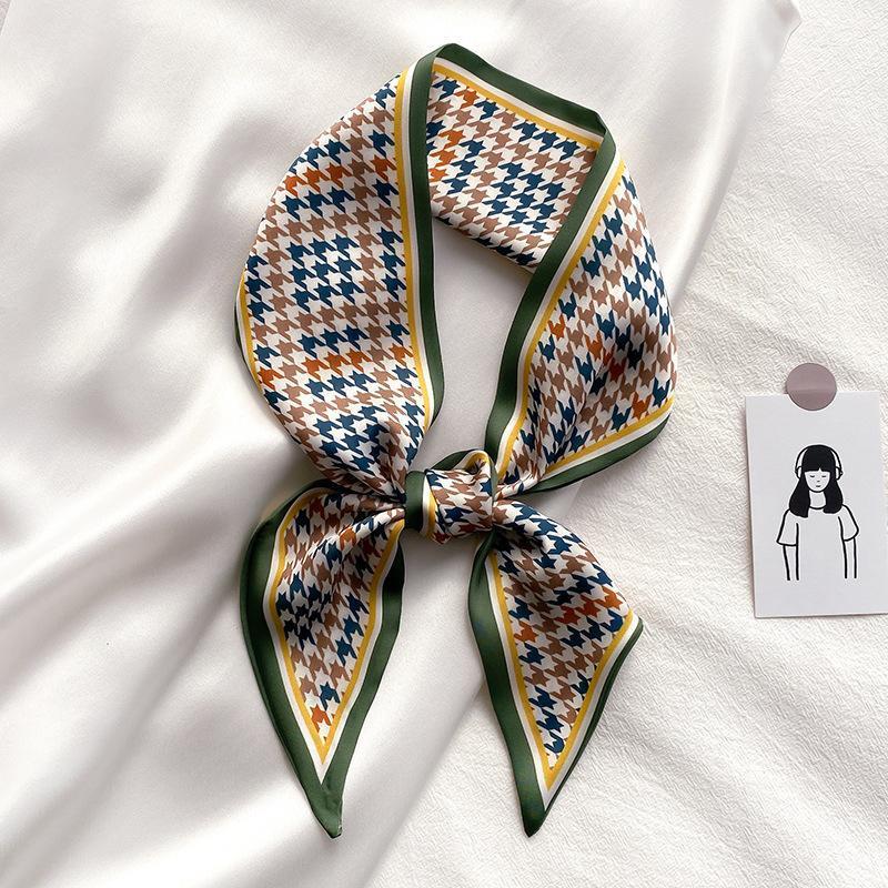 Шарфы многофункциональные длинные шелковые шарф женские Paisley Houndstooth печать Узкое шелковое завязку галстук волос ленты женские тощие головы