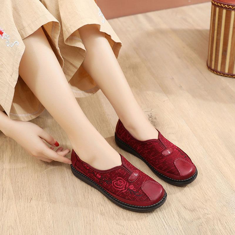 Özerklik Marka kadın Işlemeli Ayakkabı Kırmızı Boyutu 12 En Kaliteli Spor Ayakkabı Düşük Kesilmiş Nefes Pedalı Rahat Ayakkabılar