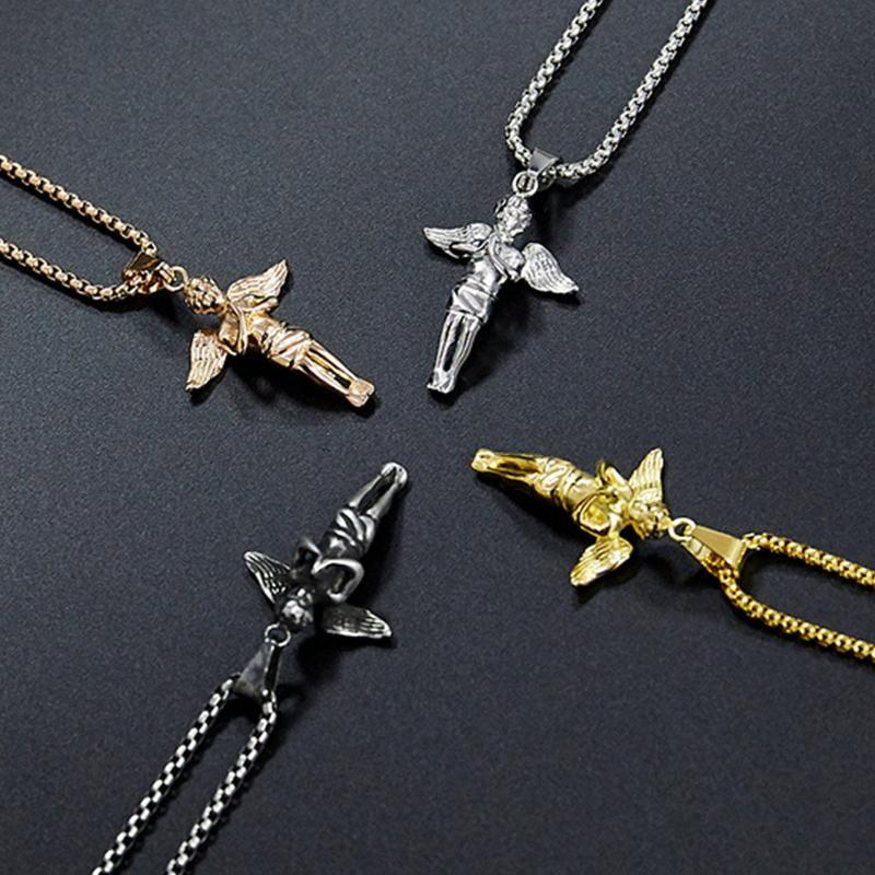 Collane pendenti Collaness Mens Angelo Boy in acciaio inox Acciaio inox Collana catena d'oro 2021 Gioielli sul collo Regalo Amuleto per accessori maschili