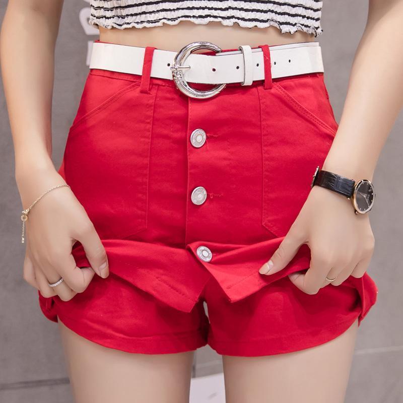 JMPRS Women Denim Skirt Casual Belt Summer High Waist Jeans Mini Skirt Cotton Red Harajuku A Ling Single Breasted Ladies Skirts