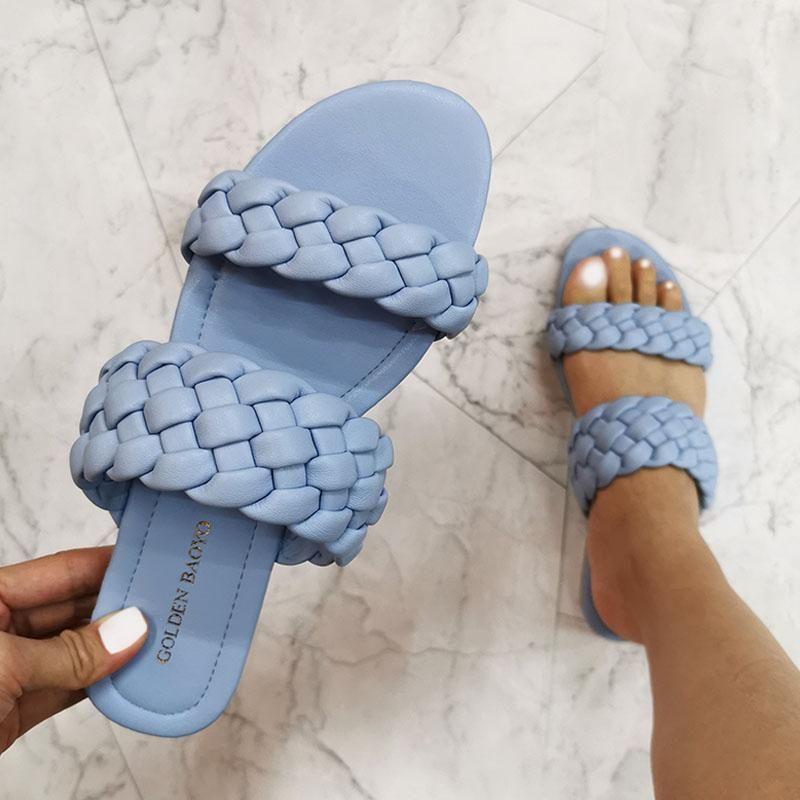Sandalet Yaz Çift Örgü Modern Kadınlar 2021 Düz Slaytlar Deri Moda Rahat Kadın Açık Plaj Ayakkabıları
