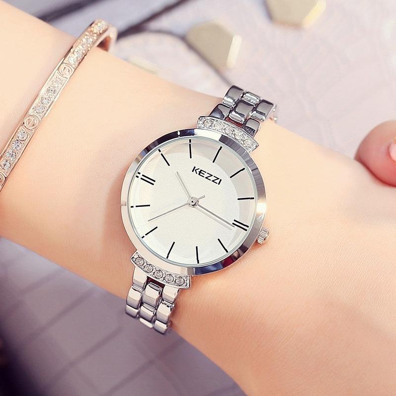 Kezzi Paslanmaz Çelik Kadın Saatler Basit Su Geçirmez Kuvars Saatı Bayanlar Elbise İzle Horloge
