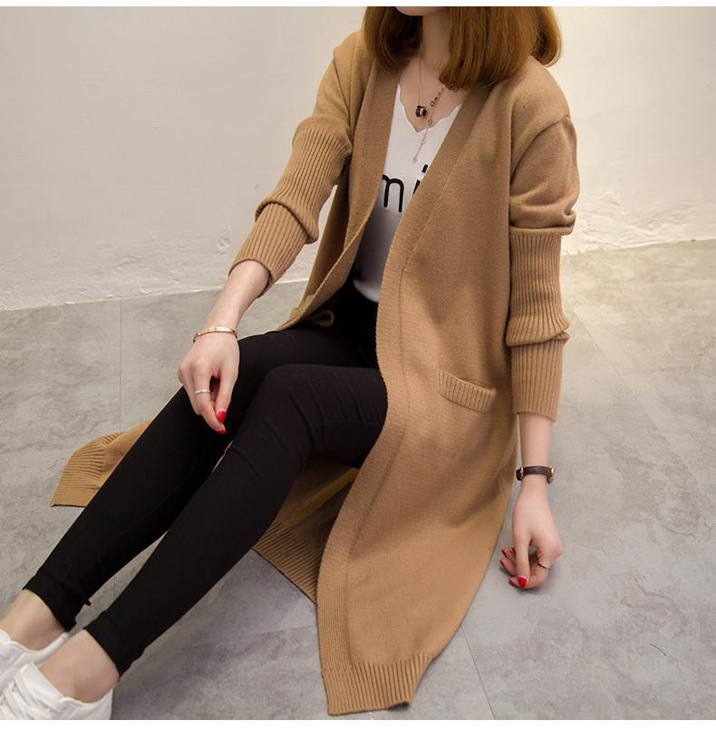 2021 Новая осень зима вязание свитер женщин верхняя одежда свитера кардиган Феминино тянуть Femme Jersey длинные кардиганы UU1X