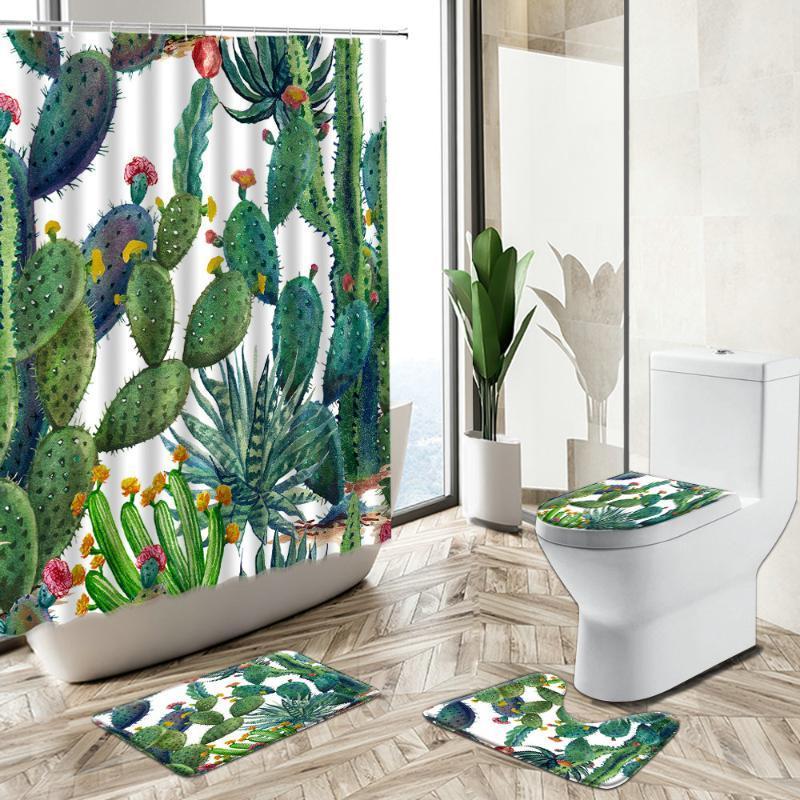 Duschvorhänge Tropischer Kaktus Sukkulente Grün Pflanze Vorhang Blume Blatt Aquarell Kunst Home Bad Matte Toilettenabdeckung Badezimmer Teppichset