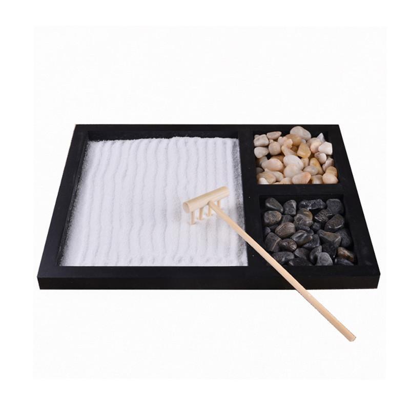 Büro Desktop Zen Garten Sand Tablett Natürliche Steine Holz Rechen Meditation Handwerk Home Dekorative Micro Landschaftsplatte Kinder Geschenk