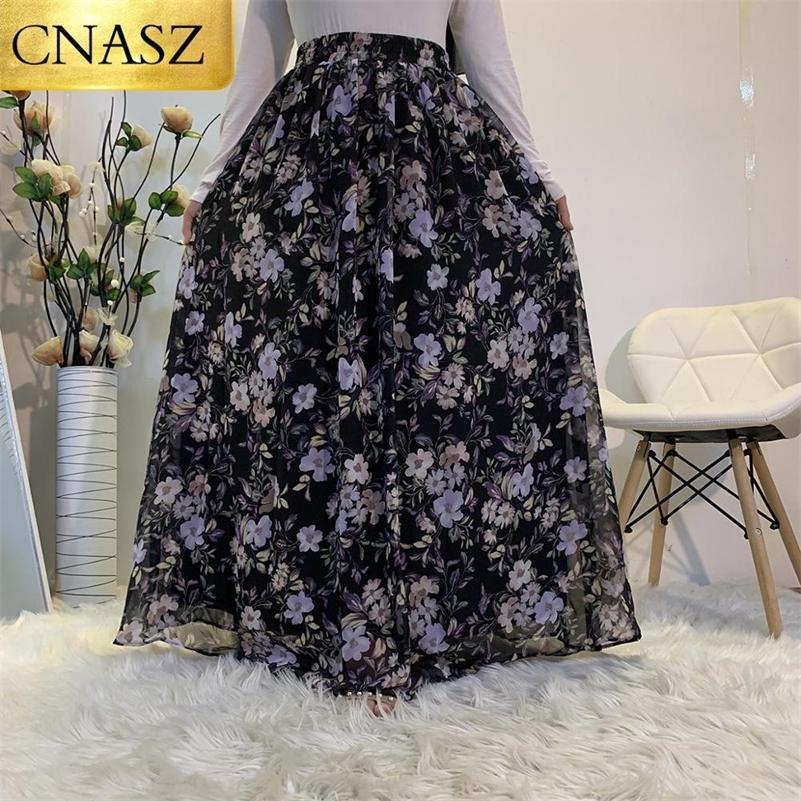 Nova Primavera Verão Cintura Alta Padrão Longo Flor Flor Chiffon Beach Maxi Saia Longa Fashion Skirt Skirt 210315