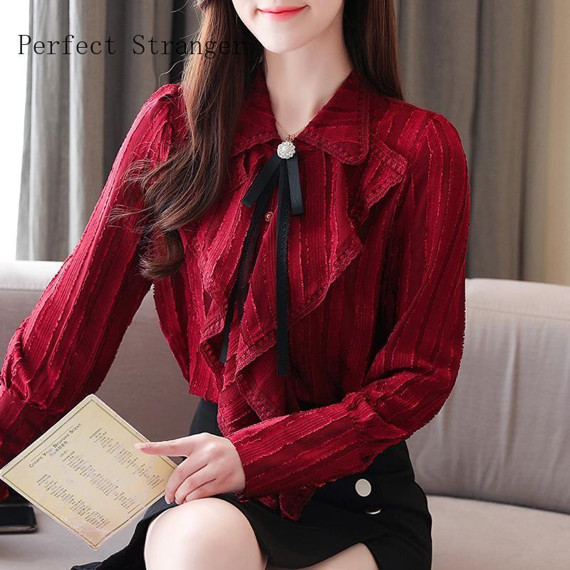 2020 Autumn New Arrival Hot Sale Bow Collar Long Sleeve Women Chiffon Blouse High Quality