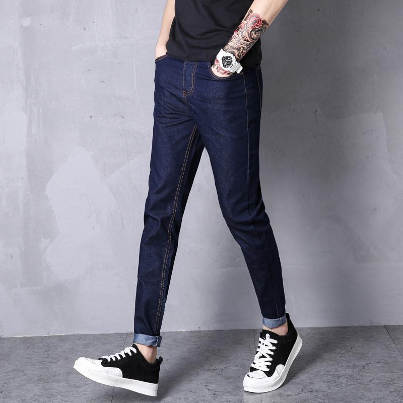Jeans Men's Blue Cotton Jeans Skinny Delgado Denim Tokle Longitud Pantalones Moda Moda Casual Estudiantes jóvenes Sencillo