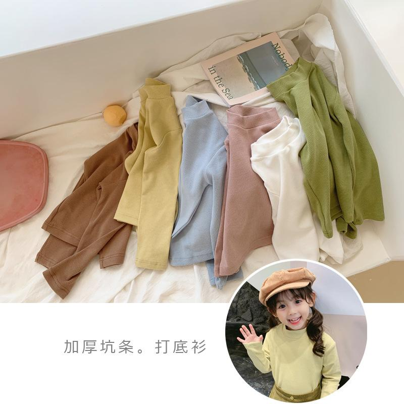 WLG Autumn boys girls t shirt kids pit o-neck long sleeve solid t-shirt baby casual all match tops Q0202