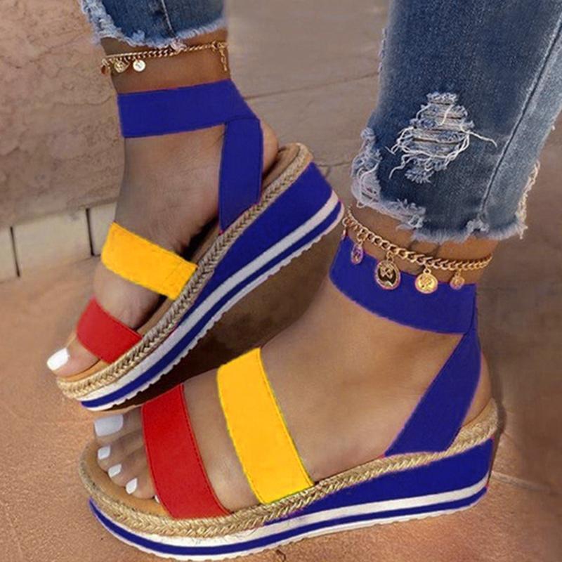 Сандалии женщины летние светлые женские сандалии скольжения на платформе женская обувь клина конопляный повседневная женщина обувь женский комфорт 210301