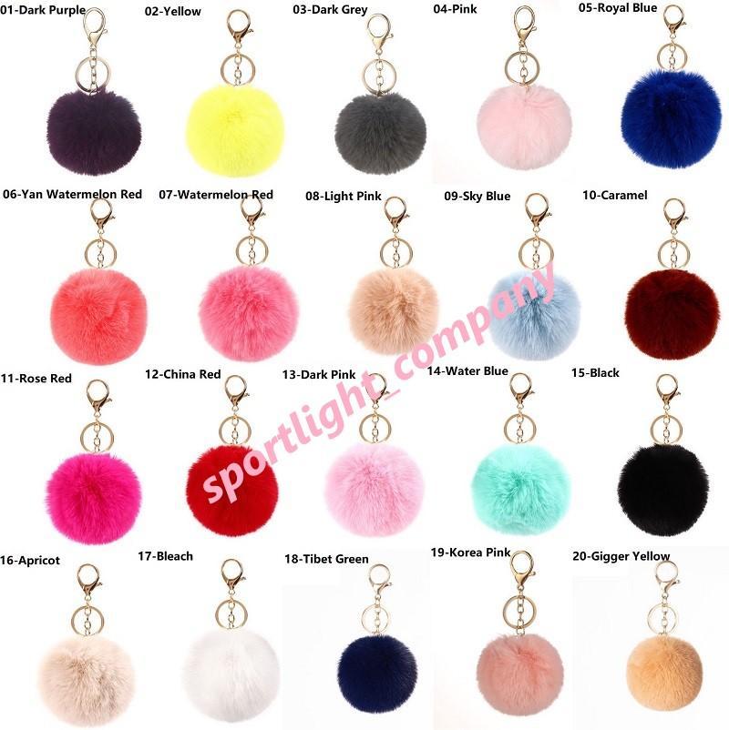 40 cores 8cm imitate coelho bola de pele chaveiro POM carro bolsa chaveiros decoração fofa fofa de coelho pele chaveiro saco acessórios