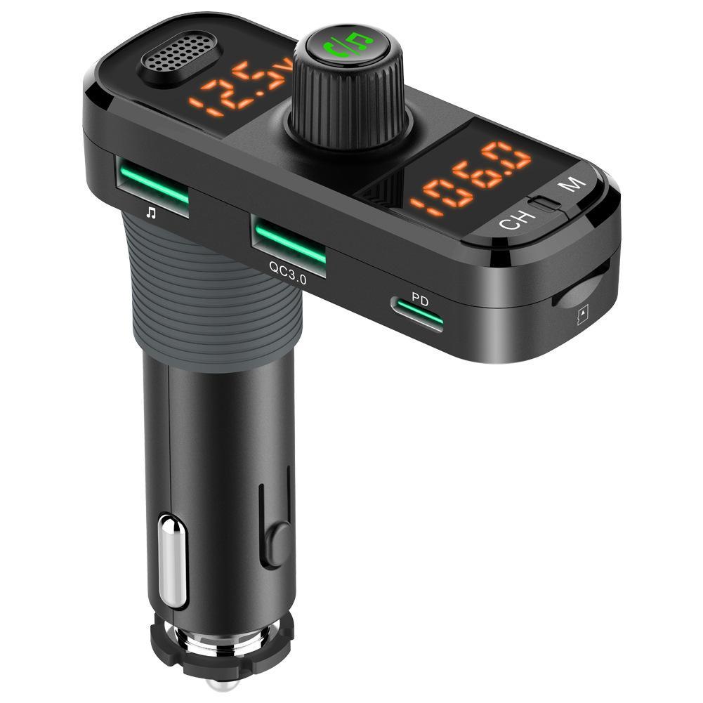 BC70 Auto Bluetooth 5.0 Dual-Display FM Sender Wireless Freisprecheinrichtung Auto MP3-Player 360 ° -Anschluss QC3.0 + PD Schnellladegerät
