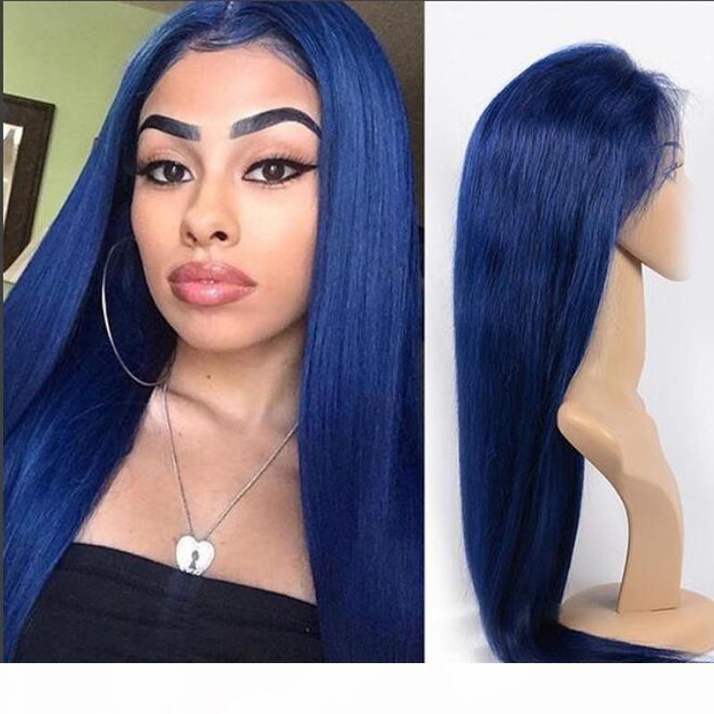 Tutkalsız Sentetik Dantel Ön Peruk Mavi Renk Ucuz Uzun Düz Lacefront Mavi Sentetik Peruk Isıya Dayanıklı Fiber Saçlı Bebek Saçları