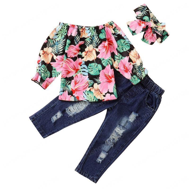 Çocuk Kız Kot Takım Elbise Çiçek Bir Omuz Tops Toddler Bebek Denim Pantolon Setleri Gençler Casual Kıyafetler Çocuklar Sıkıntılı Kot Bandı