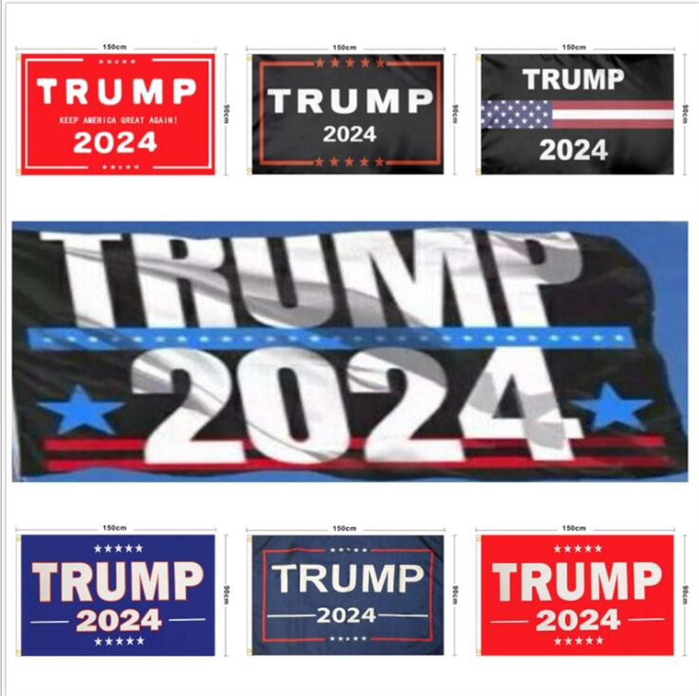Nuova Trump 2024 Bandiera U.S. Bandiera della campagna presidenziale 90 * 150 cm 3 * 5ft Bandiera della bandiera per la casa Garden Yard 13 Stili DHL Trasporto libero FY6049