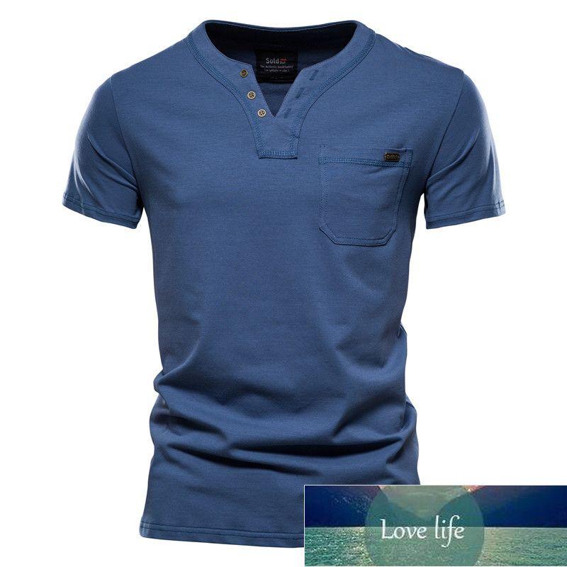 Summer Top Quality Cotton T Shirt Men Solid Color Design V-neck T-Shirt Casual Classic Men's Clothing Tops Tee Shirt Men