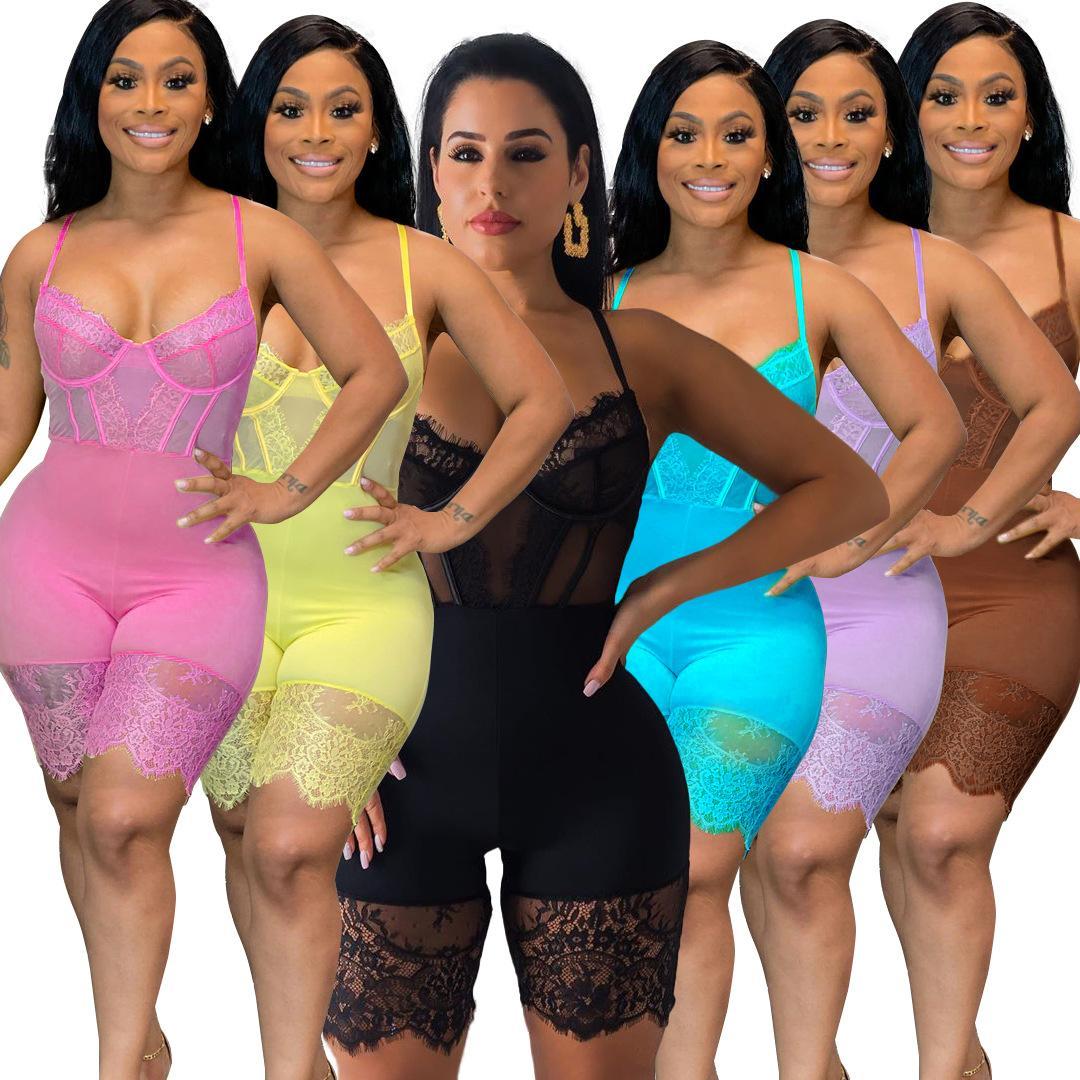 Frauen Mode Kleidung Sexy Bodycon Jumpsuit Korsett Knorpel Sling Spitze Casual Clubwear Halter Jumpsuits Amp Strampler V-Ausschnitt Blau