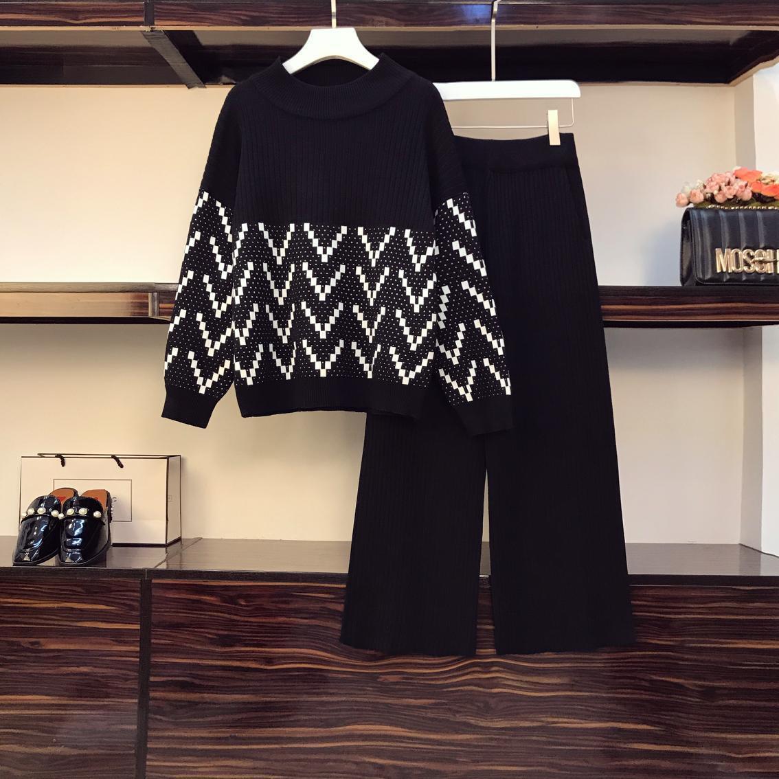 Kadınlar Artı Boyutu Rahat Örme Takım Elbise Sonbahar Moda Gevşek Baskılı Spor Kazak Üst ve Geniş Bacak Pantolon İki Parçalı BL1F